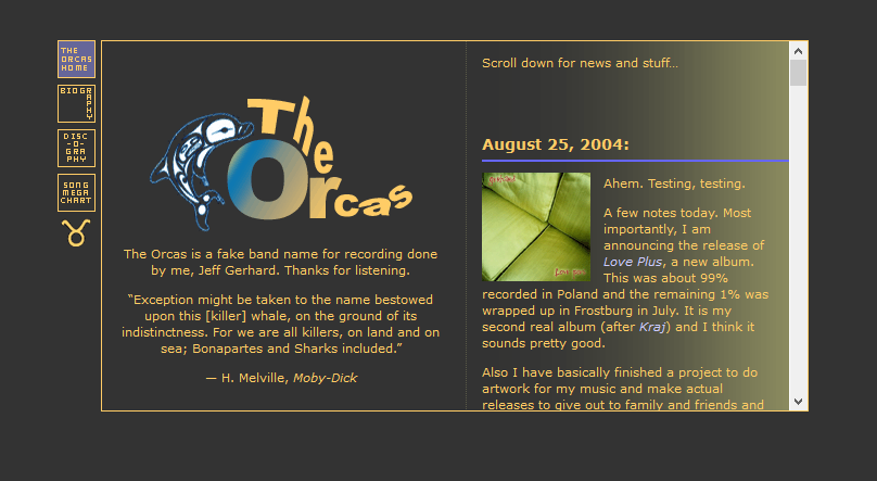 The Orcas website on GeoCities circa 2004